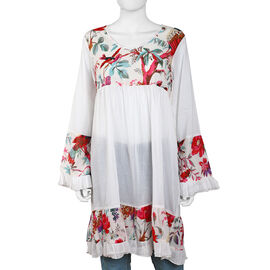 100% Cotton Dress with Printed Yoke, Sleeves and Bottom Hem in White and Multi Colour