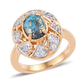 1.75 Ct Persian Turquoise and Cambodian Zircon Halo Ring in Gold Plated Sterling Silver