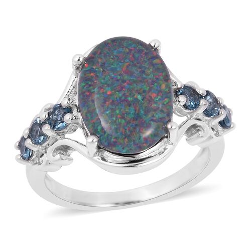 Rare Size Australian Boulder Opal (Ovl 14X10 mm), London Blue Topaz Ring in Rhodium Overlay Sterling Silver
