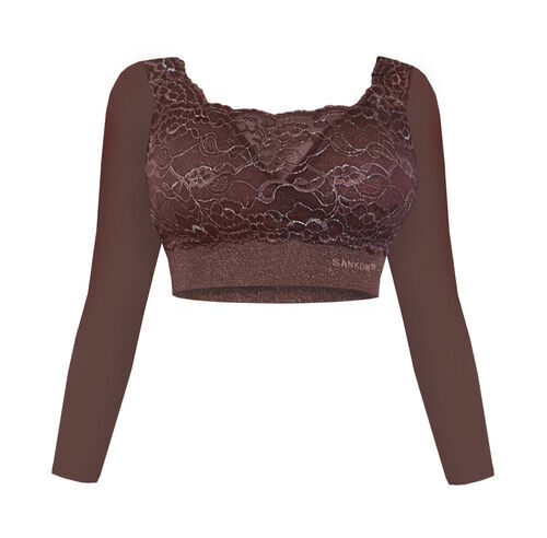 Doorbuster Deal- SANKOM SWITZERLAND Patent Classic Bra with Full Lace Cover (Size-M, 6-8) Taupe Colour