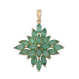 4.5 Ct Emerald Zambian Cluster Pendant in 9K Gold 2.3 Grams