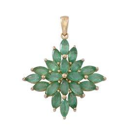 4.5 Ct Emerald Zambian Cluster Pendant in 9K Gold 2.3 Grams