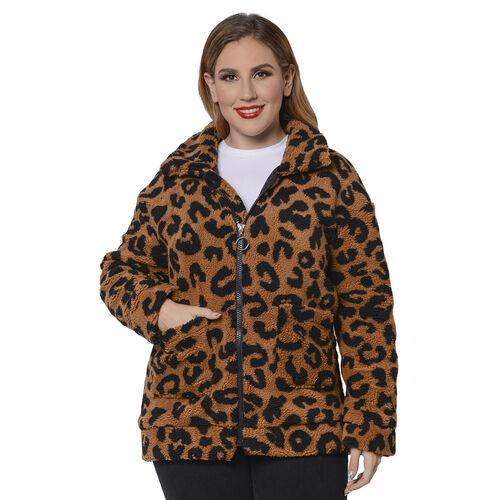 Leopard Pattern Faux Fur Coat with Pockets (Size XL; 20-24 )