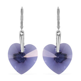 Tanzanite Colour Crystal From Swarovski Heart Earrings in Platinum Plated Sterling Silver