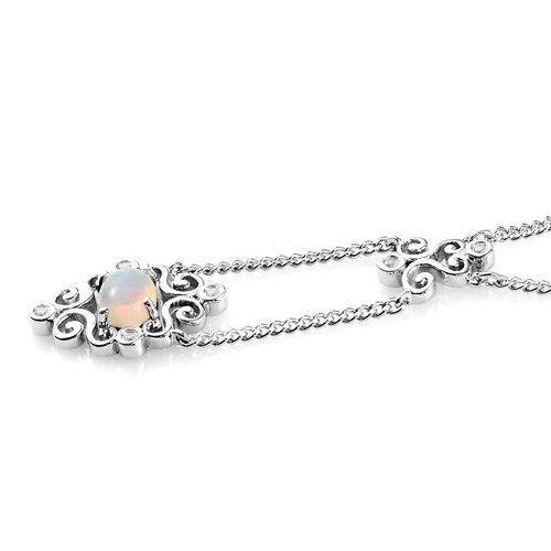 Ethiopian Welo Opal and Natural Cambodian Zircon Necklace (Size 18) in Platinum Overlay Sterling Silver 1.00 Ct, Silver wt. 7.35 Gms