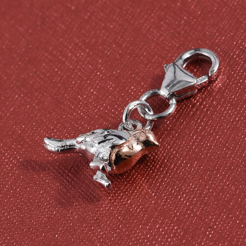 Rose Gold and Platinum Overlay Sterling Silver Bird Charm