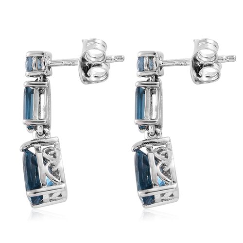 London Blue Topaz (Pear) Earrings (with Push Back) in Platinum Overlay Sterling Silver 2.750 Ct.