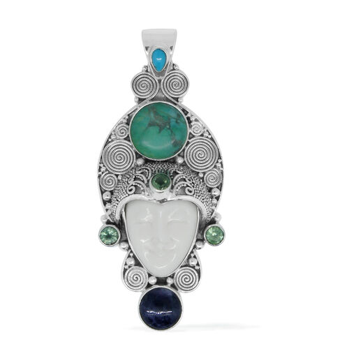 Princess OX Bone Carved Face, Green Howlite, Purple Opal, Orissa Green Kyanite and Arizona Sleeping Beauty Turquoise Pendant in Sterling Silver 12.580 Ct. Silver Wt 12.20 Gms