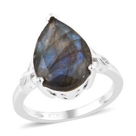 Labradorite (Pear 14x10 mm) Ring (Size N) in Sterling Silver 4.750 Ct.