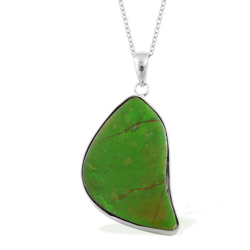 Canadian Ammolite Pendant With Chain in Rhodium Plated Sterling Silver 19.340 Ct.