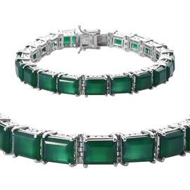 42.2 Ct Verde Onyx Tennis Bracelet in Platinum Plated Sterling Silver 21.50 Grams 7.5 Inch
