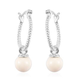 J Francis Ivory Pearl Swarovski Crystal Pearl Earrings (with Clasp) in Sterling Silver