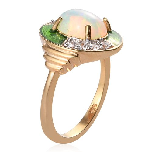 AA Ethiopian Welo Opal and Natural Cambodian Zircon Enamelled Ring in 14K Gold Overlay Sterling Silver 1.25 Ct.