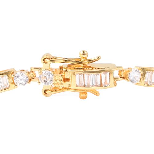 ELANZA Simulated Diamond (Rnd and Bgt) Link Bracelet (Size 8) in Yellow Gold Overlay Sterling Silver, Silver wt 8.63 Gms