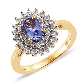 1.25 Ct Tanzanite and Zircon Halo Ring in Gold Plated Silver
