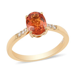 ILIANA 18K Yellow Gold AAAA Songea Sapphire and Diamond (G-H/SI) Ring 1.70 Ct.