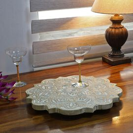 NAKKASHI - Saharanpur Collection - Hand Carved Lazy Susan Solid Wood Rotating Tray. Sun Shape