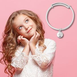 RACHEL GALLEY Diamond Kids Bangle (Size 4.95) with Star Charm in Rhodium Overlay Sterling Silver, Si