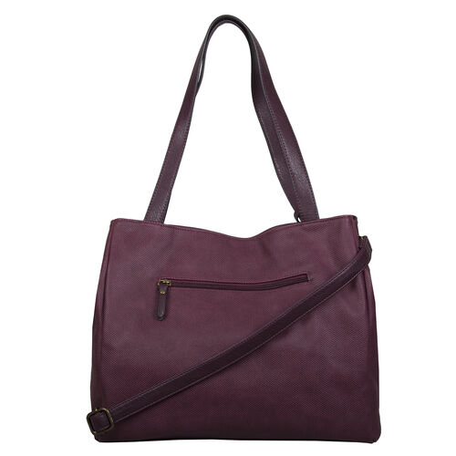 Bulaggi Collection - Gerbera Shopping Bag with Detachable Shoulder Strap and Tassel (Size 36x31x11cm) - Burgundy