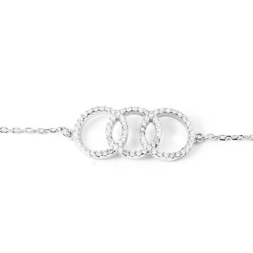 ELANZA Simulated Diamond (Rnd) Adjustable Bracelet (Size 6.5) in Rhodium Overlay Sterling Silver