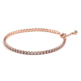 ELANZA Simulated Diamond Tennis Style Bracelet in Rose Gold Plated Sterling Silver 4.2 Grams