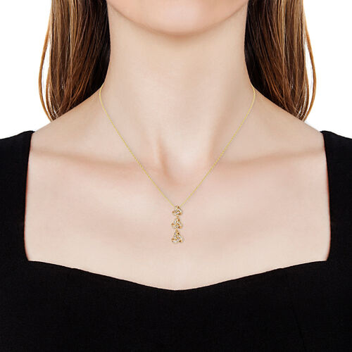 Diamond (Bgt) Triple Knot Pendant With Chain (Size 18) in 14K Gold Overlay Sterling Silver 0.335 Ct.