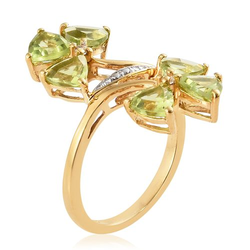 Hebei Peridot ( Tri 2.70 Ct), Natural Cambodian Zircon Twin Flower Ring in  14K Gold Overlay Sterling Silver 2.750  Ct.
