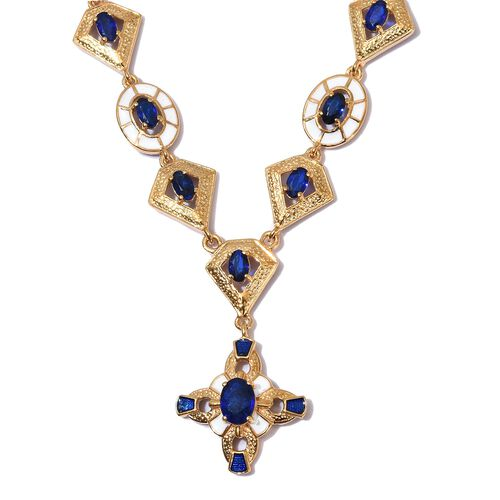 AA Tanzanian Blue Spinel Enamelled Necklace (Size 18) in 14K Gold Overlay Sterling Silver 5.50 Ct, S