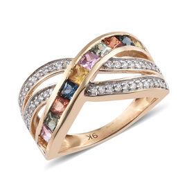 1.75 Ct AAA Princess Cut Rainbow Sapphire Criss Cross Ring in 9K Gold 3.36 Grams
