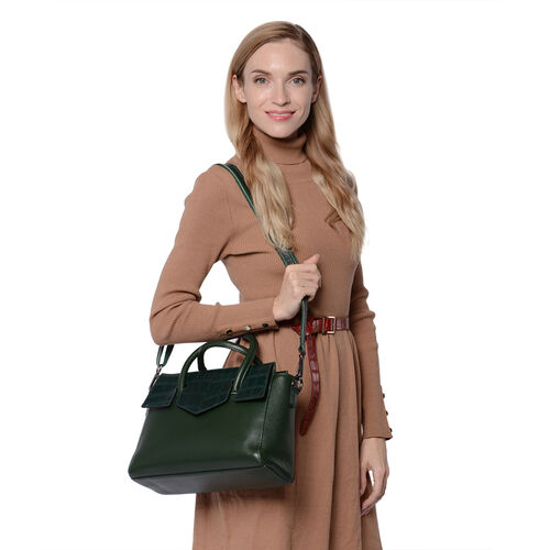100% Genuine Leather Litchi and Croc Pattern Tote Bag with Detachable and Adjustable Shoulder Strap (Size31x9x23cm) - Green