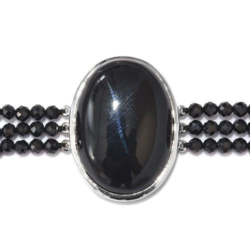 One Time Deal- Black Onyx  (Ovl 25x18 mm) Diamond Cut Natural Black Spinel Bracelet (Size 7.5) in Silver Tone 40.00 Ct.