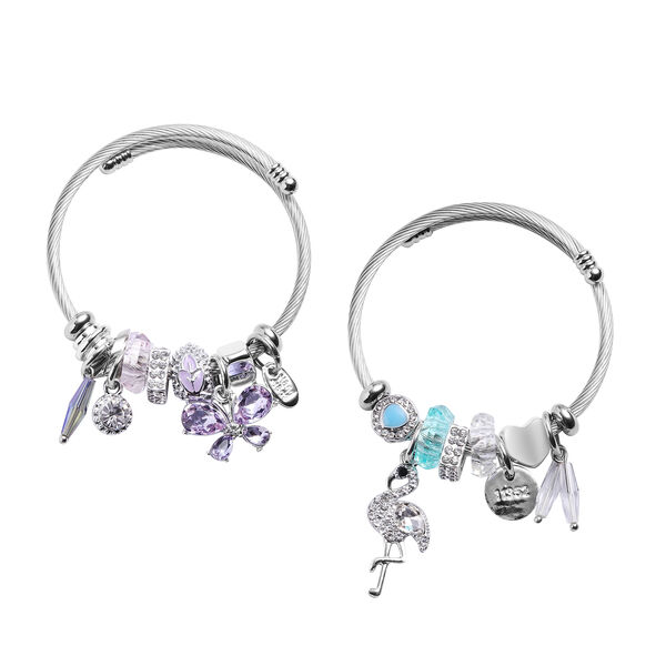 2 Piece Set - Simulated Amethyst, Simulated Sleeping Beauty Turquoise and Multi Colour Gemstone Mult
