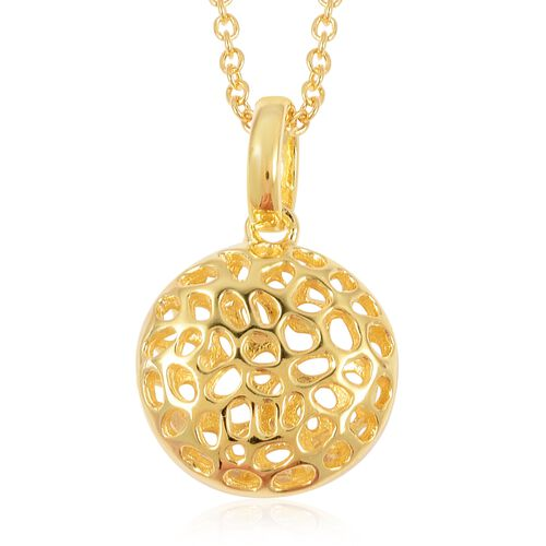 RACHEL GALLEY Yellow Gold Overlay Sterling Silver Pendant With Chain (Size 30), Silver wt 5.92 Gms.