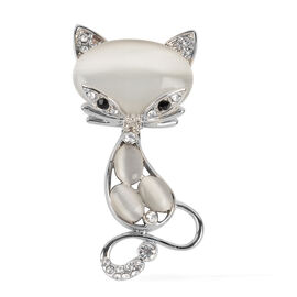 Simulated White Cats Eye (Ovl), White And Black  Austrian Crystal Kitty Brooch