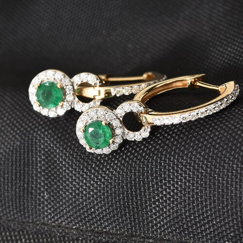 ILIANA 18K Yellow Gold AAA Kagem Zambian Emerald (Rnd), Diamond (SI / G-H) Earrings (with Clasp) 1.600 Ct, Gold wt 5.85 Gms.