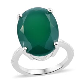 One Time Deal- Verde Onyx (Ovl 18x13 mm) Ring in Sterling Silver 9.000 Ct.