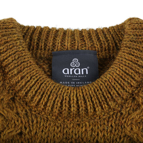 ARAN 100% Pure New Wool Sweater (Size XXL) - Mustard