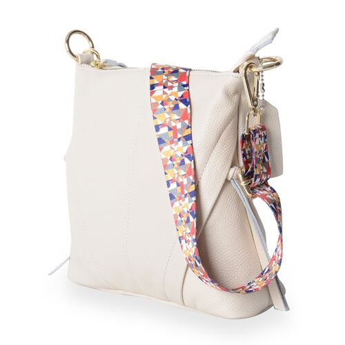 Super Soft 100% Genuine Leather Off White Colour Crossbody Bag with External Zipper Pocket and Rainbow Strap (Size 25x23x8 Cm)