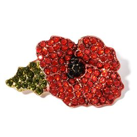 Red, Green and Black Austrian Crystal Flower Brooch in Gold Tone