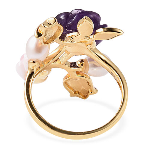 Jardin Collection - Amethyst (6.50 Ct), Freshwater Pearl and Pink Mother of Pearl Enamelled Floral Ring in Yellow Gold Overlay Sterling Silver