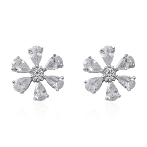ELANZA Simulated Diamond (Pear) Stud Earrings (with Push back) and Pendant in Rhodium Overlay Sterling Silver
