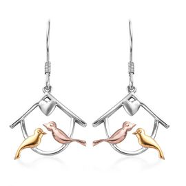 Platinum, Yellow and Rose Gold Overlay Sterling Silver Bird in House Hook Earrings