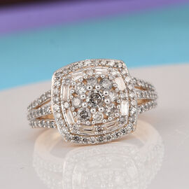1 Ct Diamond Cluster Ring in 9K Gold SGL Certified GH I3