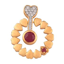 GP African Ruby, Natural Cambodian Zircon and Blue Sapphire Pendant in 14K Gold Overlay Sterling Sil