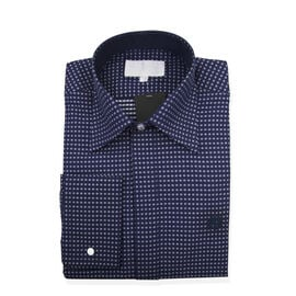 William Hunt Saville Row Forward Point Collar Dark Blue and White Polka Dot Shirt Size 17