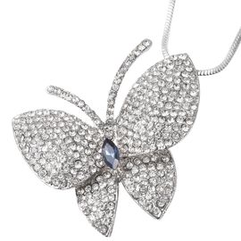 Simulated Blue Sapphire (Mrq) and White Austrian Crystal Butterfly Necklace (Size 28 with 2 inch Ext