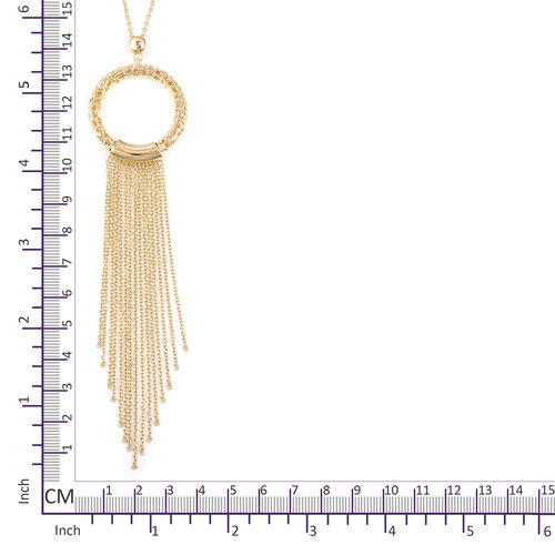 RACHEL GALLEY Yellow Gold Overlay Sterling Silver Allegro Tassel Pendant with Chain (Size 30), Silver wt 20.13 Gms.