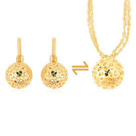 RACHEL GALLEY 0.58 Ct Russian Diopside Detachable Lattice Globe Drop Earrings in Gold Plated Silver