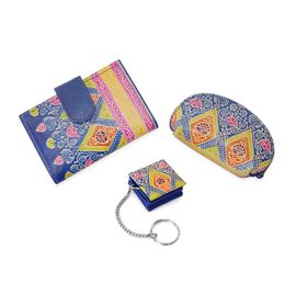 Set of 3 - 100% Genuine Leather Handmade and Painted Cardcase (8x4x6 Cm), Pouch (14x9 Cm) and Keycha