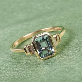 9K Yellow Gold AA Santamaria Aquamarine and White Diamond Ring 1.15 Ct.